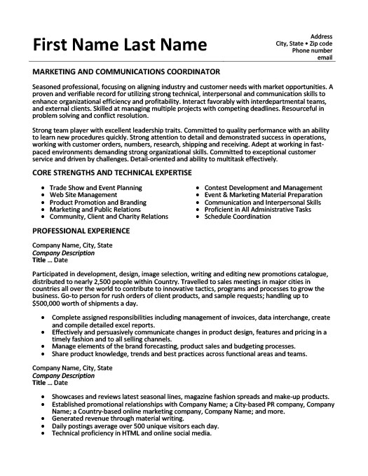 marketing and communications coordinator resume template