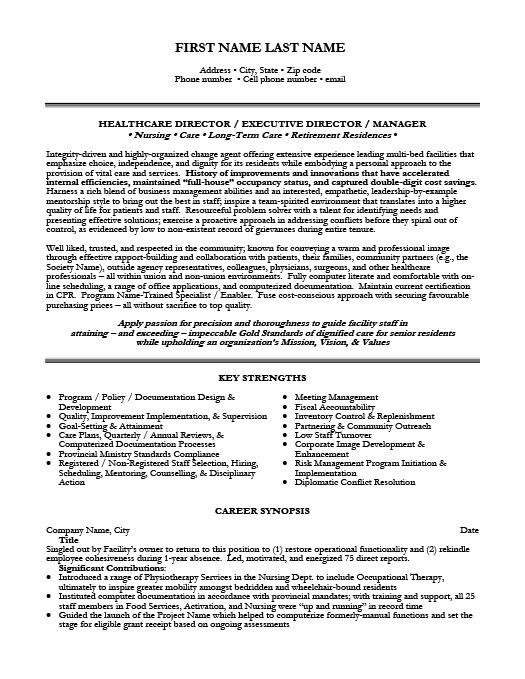 Health Care Director Executive Resume Template