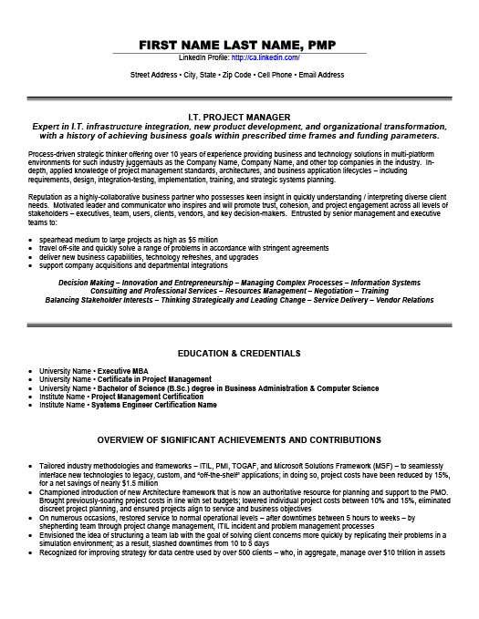 IT Project Manager  Information Technology Resume
