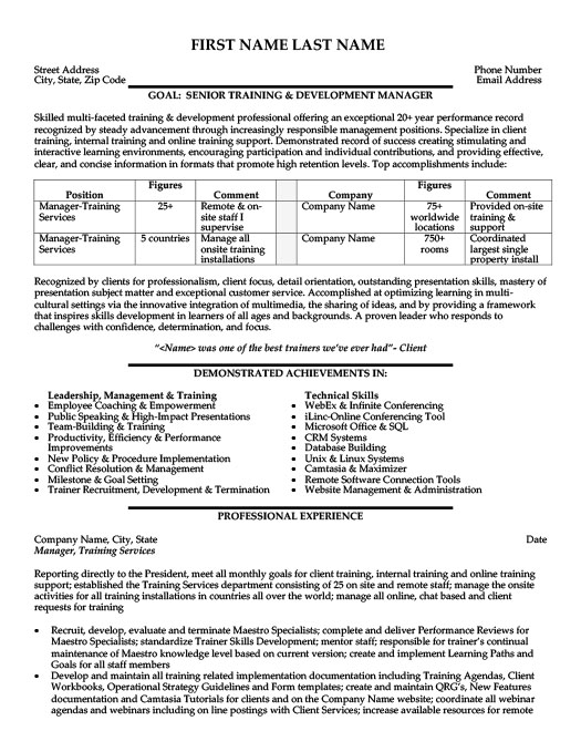 employee training manager resume - Training And Development Resume Sample