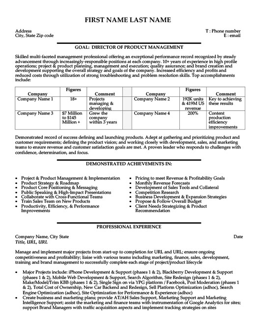 Director Or Product Manager Resume Template  Premium Resume Samples