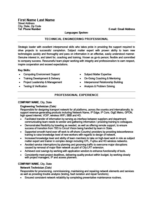 Marvelous Engineering Technician Resume  Technical Resume Samples