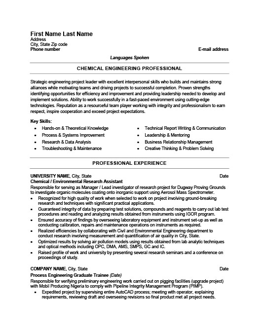 Chemical Engineer Resume