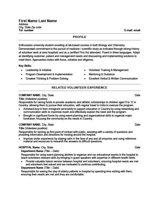 Health Care Worker. Student Resume Template ...