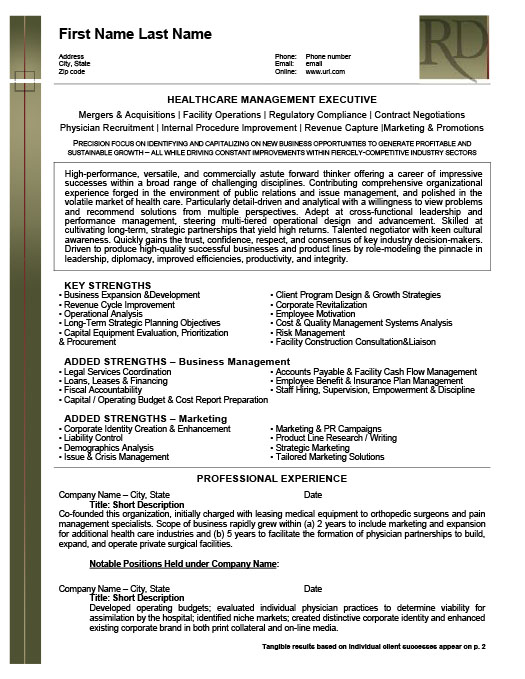 Health Care Management Executive Resume  Healthcare Management Resume