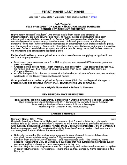 Awesome Vice President Of Sales Resume Intended Vice President Of Sales Resume