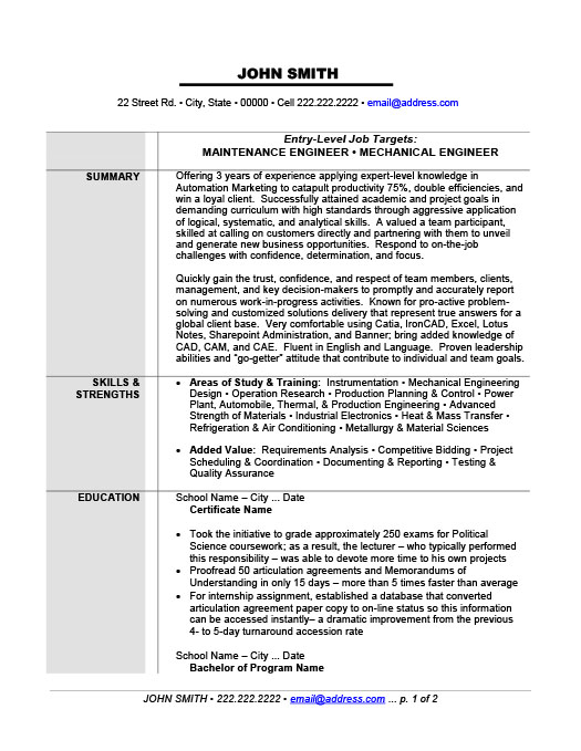 Resume Example Engineer Maintenance Or Mechanical Engineer Resume