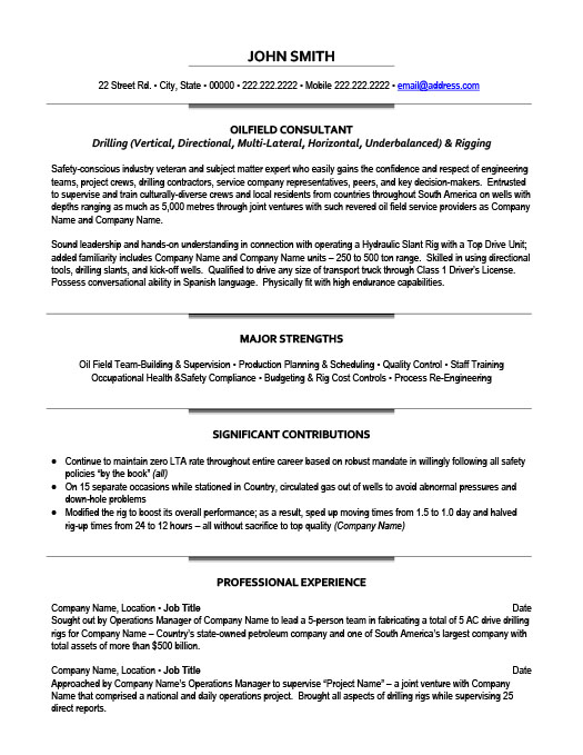 oilfield resume sample