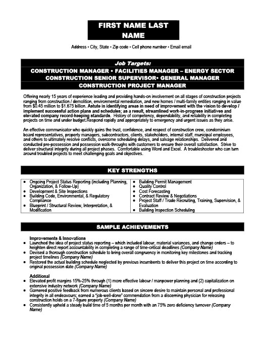 Project Manager Resume  Sample Project Management Resume