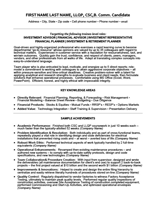 investment advisor resume - Investment Advisor Sample Resume