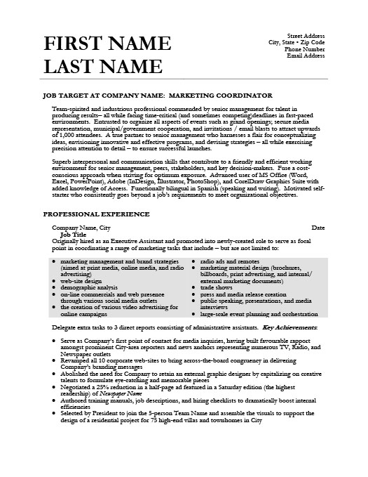 Superior Marketing Coordinator. ProfessionalResume Template ...