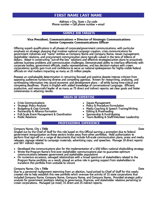 director of communications executiveresume template - Resume Templates 101