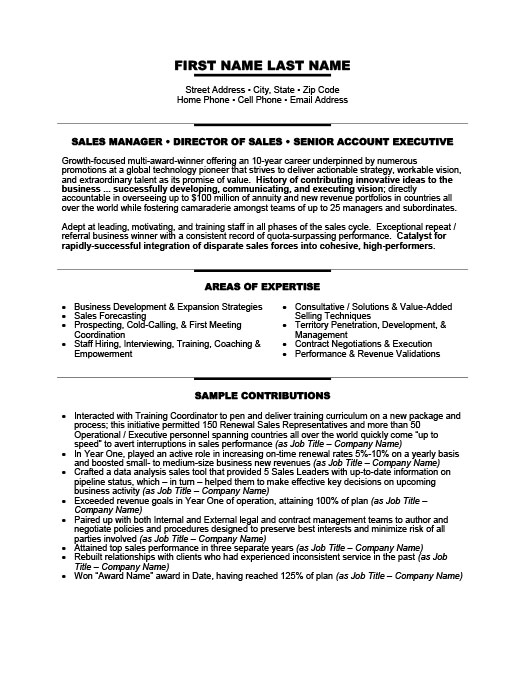 senior manager resume template