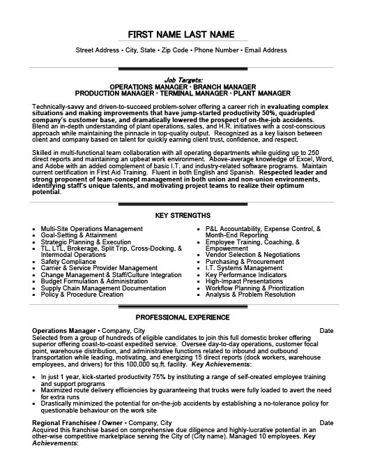 Charming Resume Templates 101  Operations Management Resume