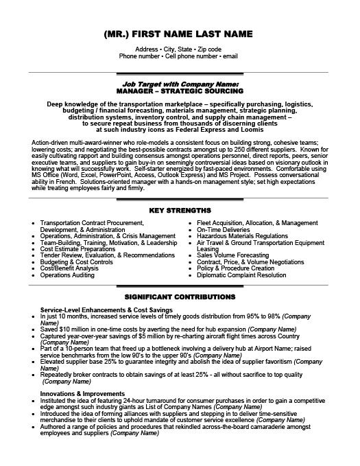 transportation resume templates samples examples resume