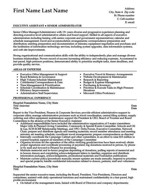 senior office manager resume template