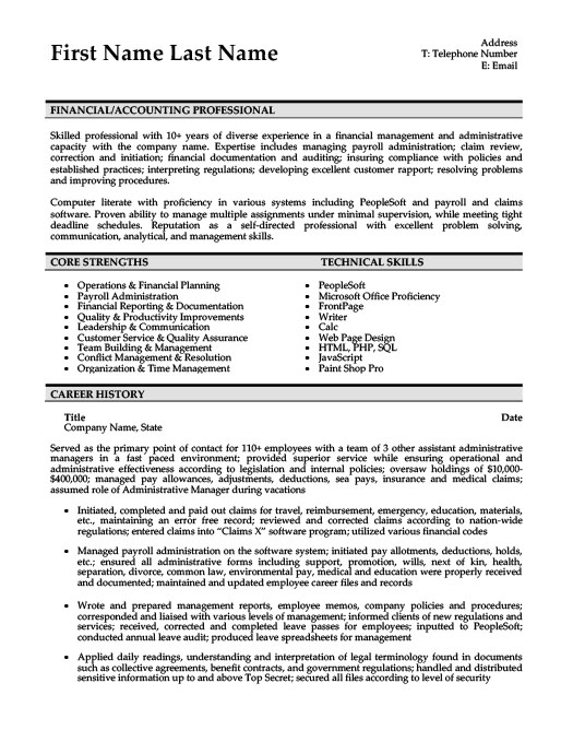 financial accountant resume template premium resume samples example - Resume Templates 101