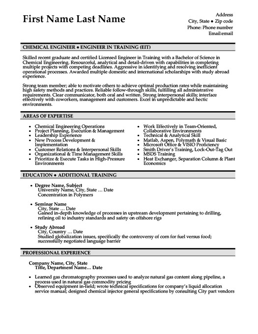 Amazing Chemical Engineer Resume