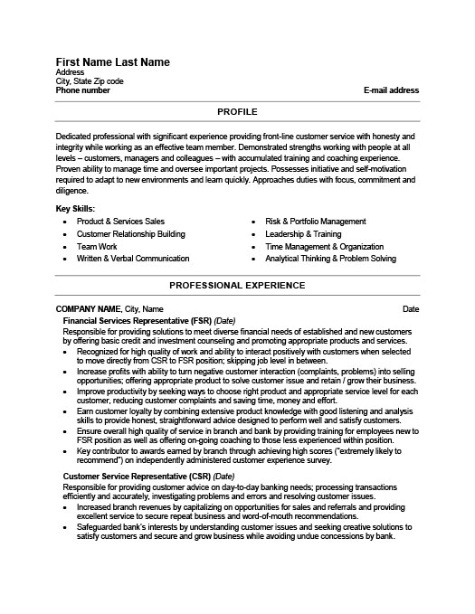 Financial Services Representative Resume  Resume Customer Service Representative