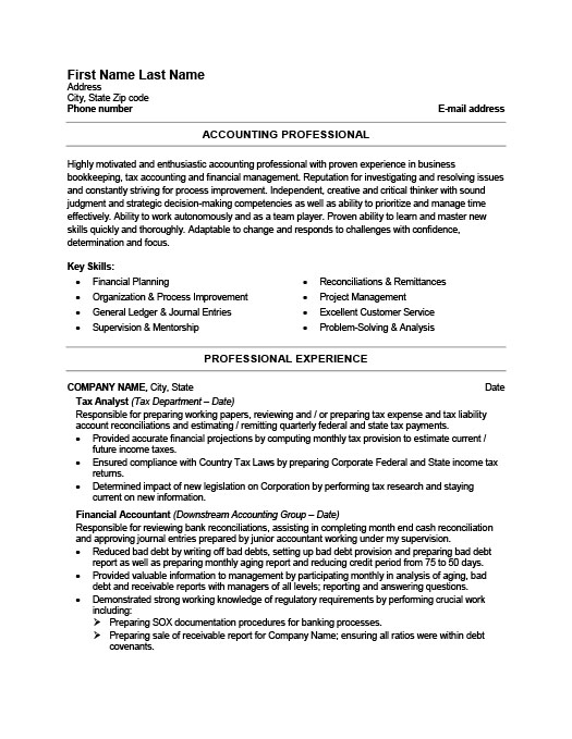 Accounting Resume Templates Samples Examples