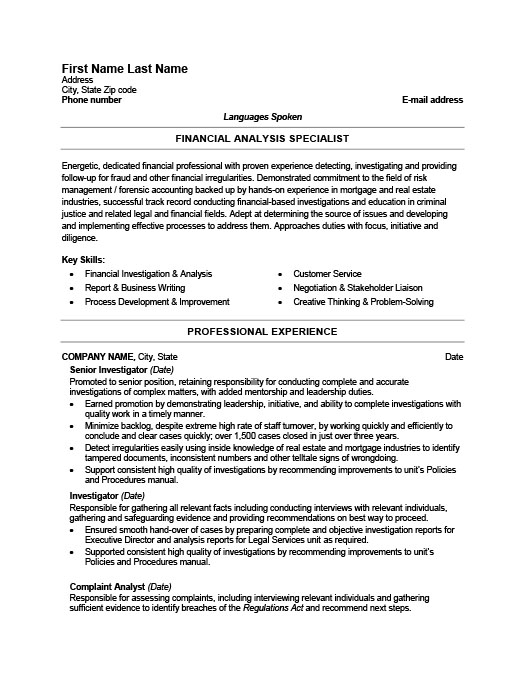 Fraud Detection Investigator Resume  Background Investigator Resume