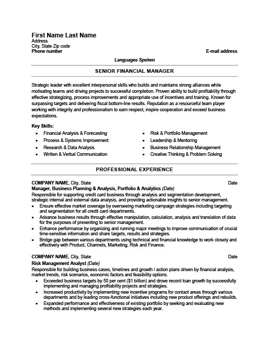 Senior Financial Manager Resume  Finance Director Resume