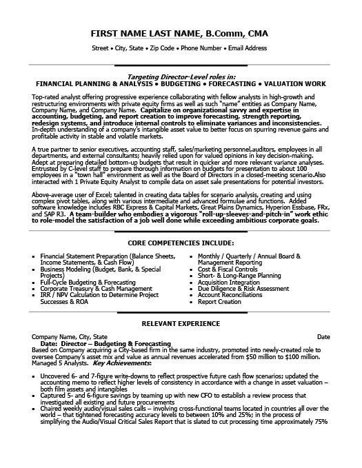 Director of Finance Resume Template – Finance Resume Template