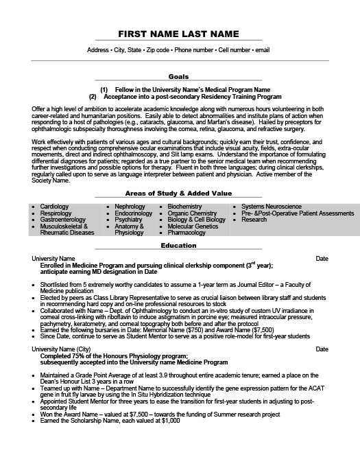 clinical clerkship elective resume template