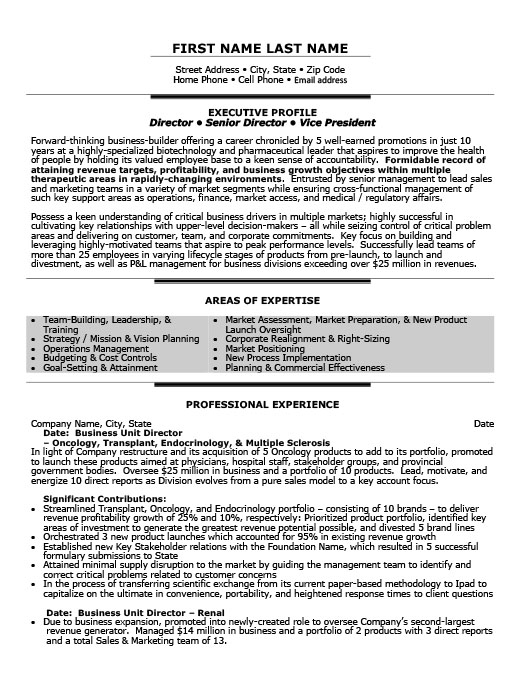 business unit director resume - Regulatory Affairs Resume Sample