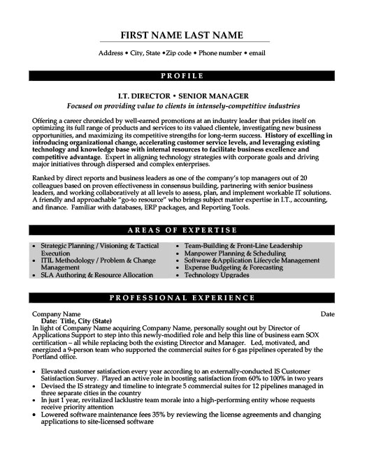 IT Director Or Senior Manager  Information Technology Manager Resume