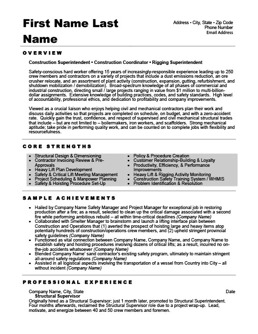 structural supervisor resume template premium resume samples