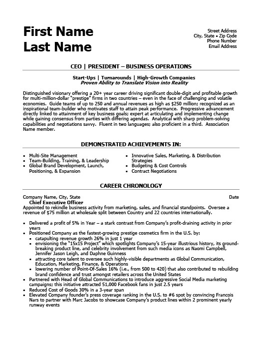 Ceo President Resume Template  Premium Resume Samples  Example