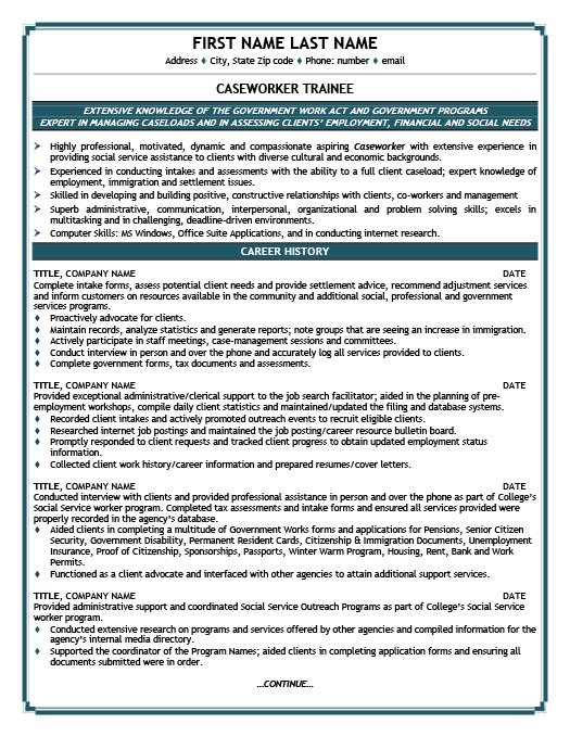 caseworker trainee resume template