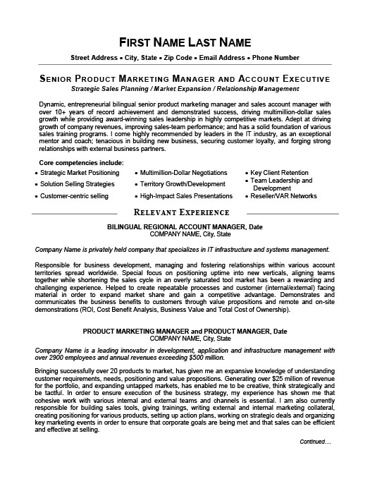 Senior Product Manager Resume  Senior Manager Resume