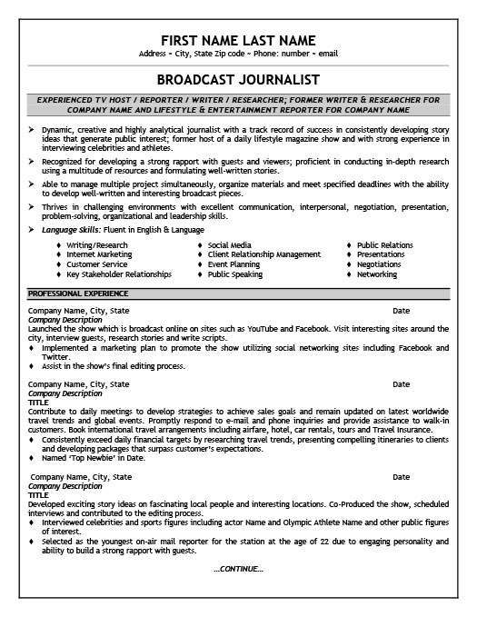 broadcast journalist resume template
