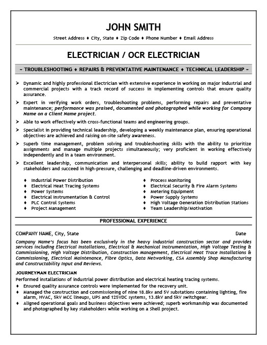 Residential journeyman electrician resume