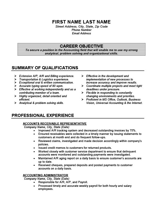 Accounting Resume Templates Samples  Examples  Resume Templates