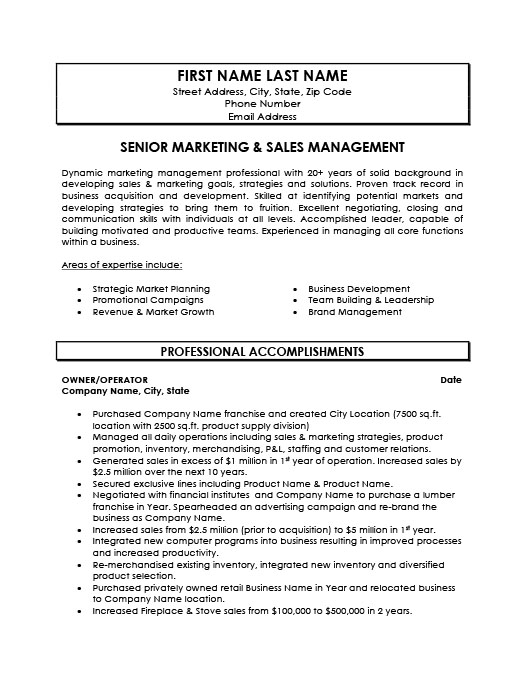 Senior Marketing And Sales Manager Resume Template Premium Resume Samples Example