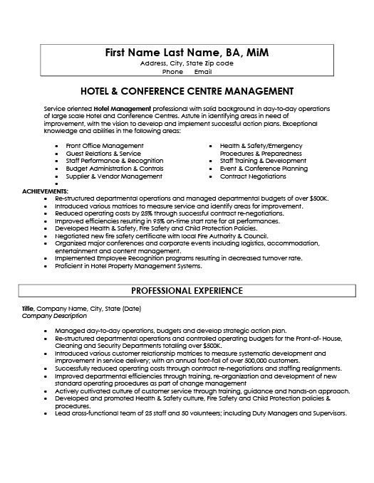 Hotel And Conference Centre Manager Resume Template Premium - Training and development resume sample