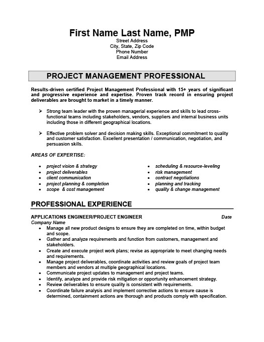 Project Engineer Resume Template