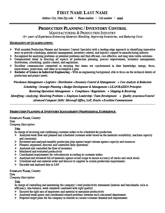 Production Planner or Inventory Controller Resume Template – Inventory Resume Sample