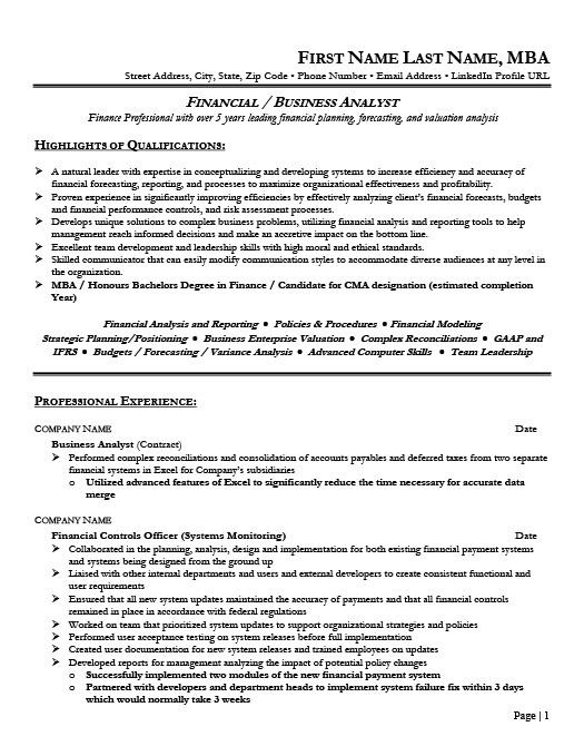 financial analyst resume template  premium resume samples