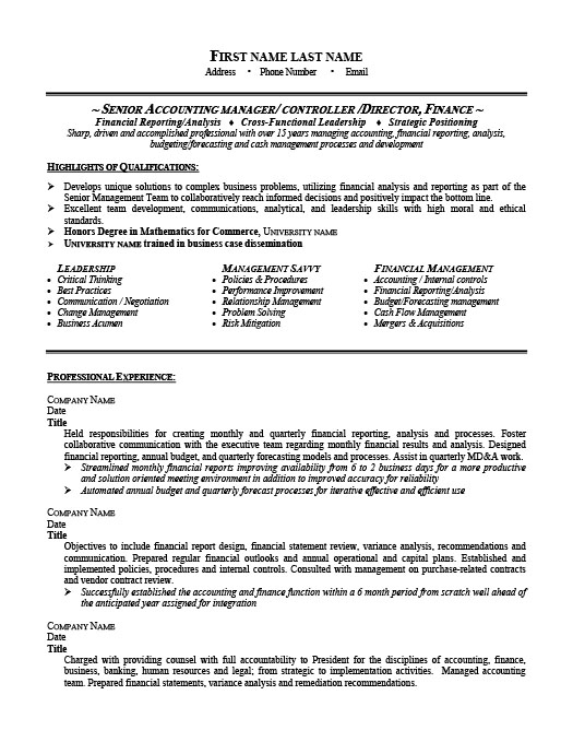 Senior Accounting Manager Resume Template – Senior Accountant Sample Resume
