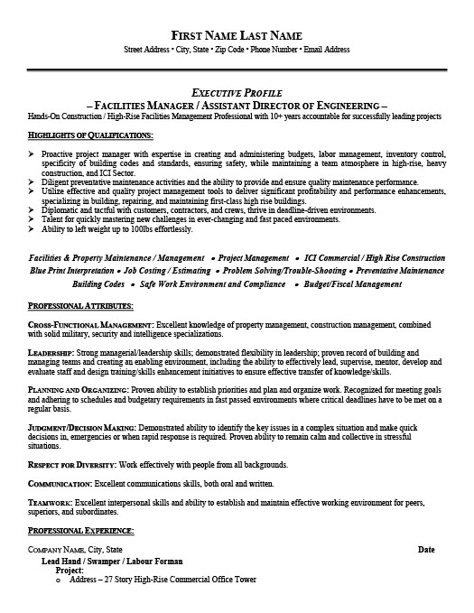 facility manager resume samples