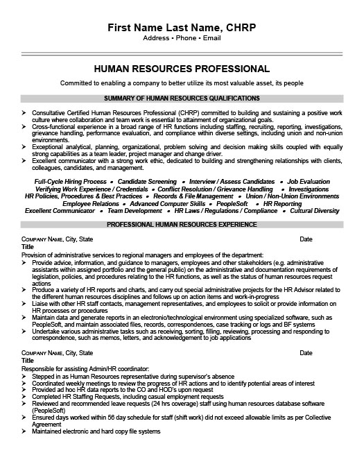 Human Resources Professional Resume Template – Human Resources Representative