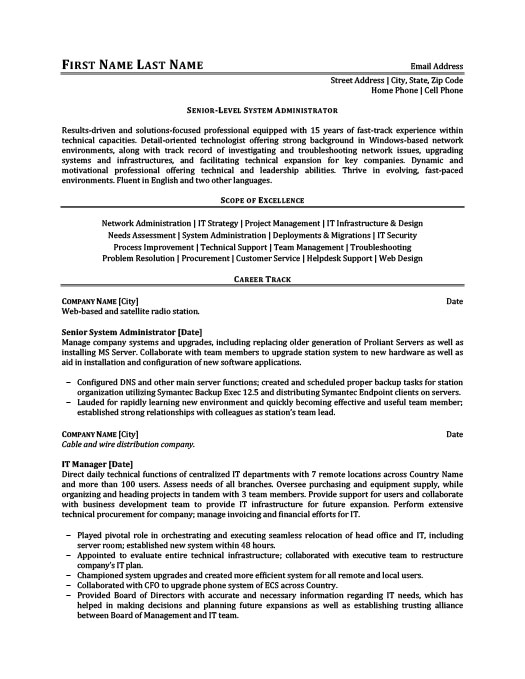 senior level system administrator resume - Administration Resume Template