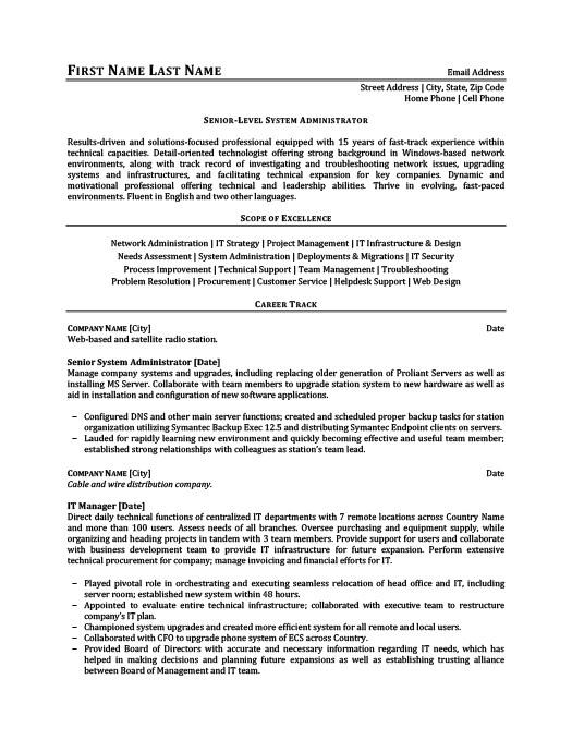 Senior Level System Administrator Resume Template