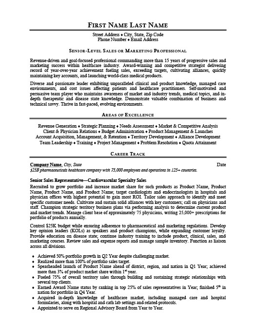 Senior Sales Representative Resume Template