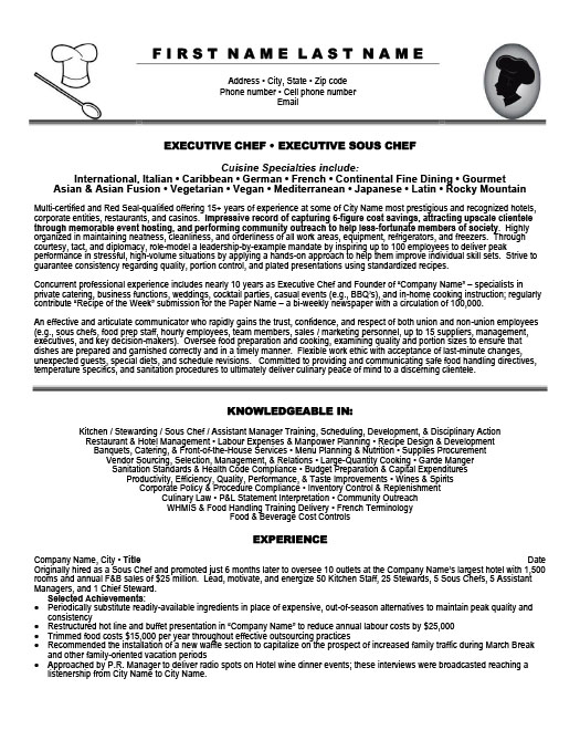 Executive Sous Chef. ProfessionalResume Template ...