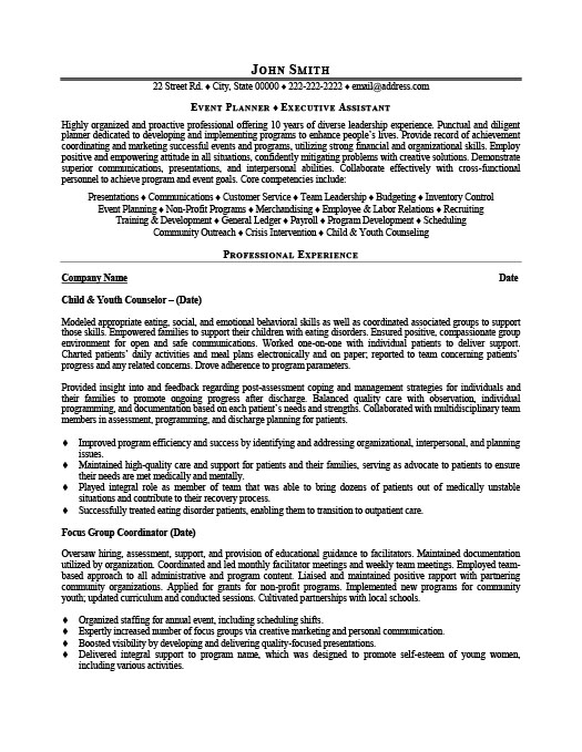 Event Planner. ProfessionalResume Template ...